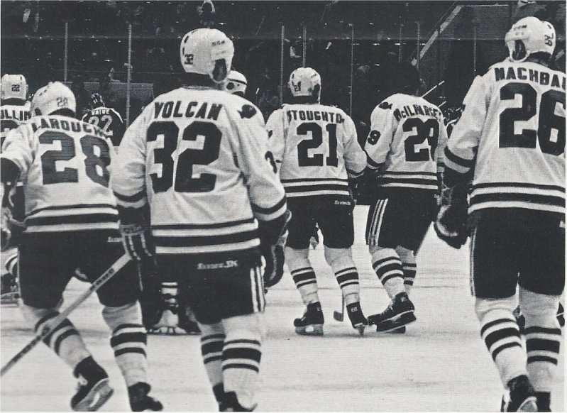 Mickey Volcan, Don Nachbauer, Pierre Larouche, Blaine Stoughton, and Jack McIlharge skate off the ice