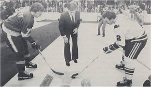 Rick Ley takes the ceramonial face-off from Bobby Orr against the Los Angeles Kings Mike Murphy