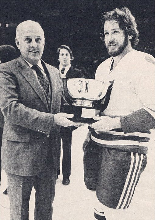 Mike Rogers accepts the 1980 Hartford National Bank Favorite Whaler award