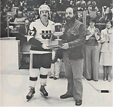 Mike Rogers receives the 1977 Booster Club MVP award